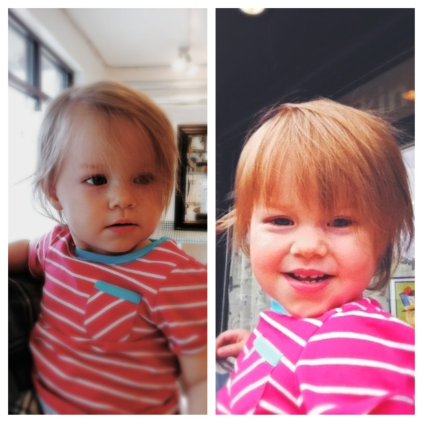 Sophie's first haircut. Now she looks like Justin Bieber. Awesome.